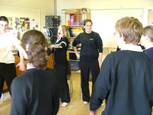 School voice workshop, Elgin Macbeth Project, Highlands, Scotland, 2007.
